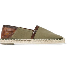 Berluti Esteban Leather-Trimmed Canvas Espadrilles