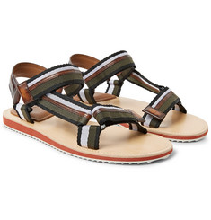 Berluti - Diego Striped Webbing and Polished-Leather Sandals