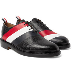 Thom Browne - Striped Pebble-Grain Leather Oxford Shoes
