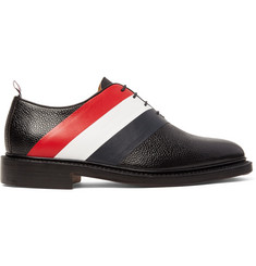 Thom Browne Striped Pebble-Grain Leather Oxford Shoes