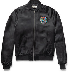 Saint Laurent Slim-Fit Shark-Appliquéd Satin Bomber Jacket