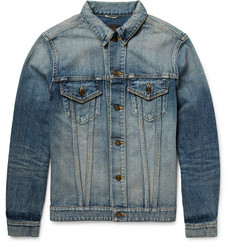 Saint Laurent Shark-Appliquéd Distressed Denim Jacket