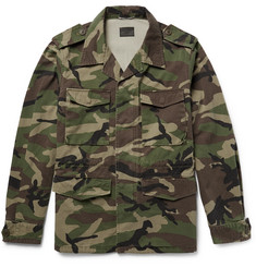 Saint Laurent Appliquéd Camouflage-Print Cotton-Twill Parka