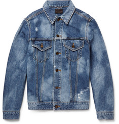 Saint Laurent Sweet Dreams-Appliquéd Distressed Denim Jacket