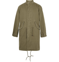 Saint Laurent Sweet Dreams-Appliquéd Cotton and Ramie-Blend Twill Parka