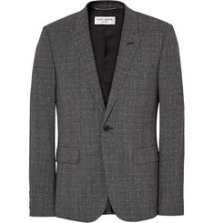 Saint Laurent Grey Slim-Fit Prince of Wales Checked Slub Wool-Blend Suit Jacket
