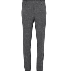 Saint Laurent Grey Slim-Fit Prince of Wales Checked Slub Wool-Blend Suit Trousers