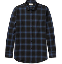 Saint Laurent Slim-Fit Checked Cotton-Blend Shirt