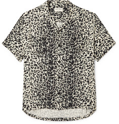 Saint Laurent Camp-Collar Leopard-Print Brushed-Twill Shirt