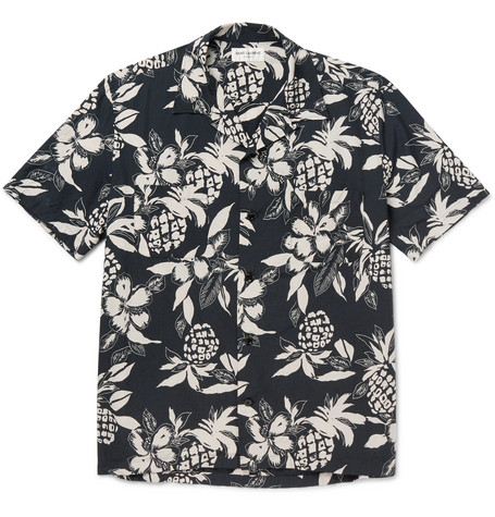 Camp-Collar Floral-Print Voile Shirt