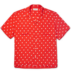 Saint Laurent Camp-Collar Polka-Dot Voile Shirt