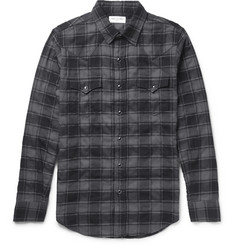Saint Laurent Slim-Fit Checked Stretch-Cotton Flannel Western Shirt