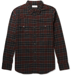 Saint Laurent Slim-Fit Checked Cotton-Flannel Western Shirt