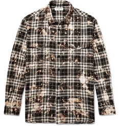 Saint Laurent Oversized Bleached Checked Stretch-Cotton Flannel Shirt