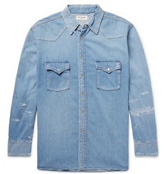 Saint Laurent Oversized Distressed Denim Western Shirt