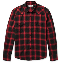 Saint Laurent Slim-Fit Checked Cotton-Blend Flannel Western Shirt