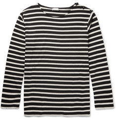 Saint Laurent Distressed Striped Cotton T-Shirt