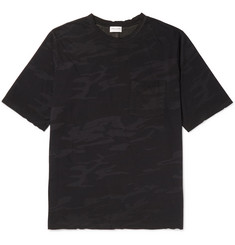 Saint Laurent Distressed Camouflage-Print Cotton-Jersey T-Shirt