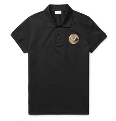 Saint Laurent Appliquéd Cotton-Piqué Polo Shirt
