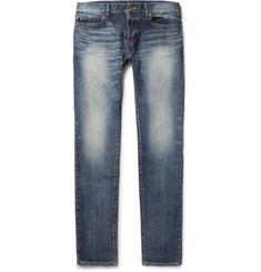Saint Laurent - Skinny-Fit 15cm Hem Washed Stretch-Denim Jeans