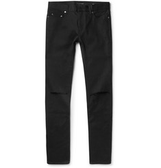 Saint Laurent Skinny-Fit 15cm Hem Distressed Raw Stretch-Denim Jeans