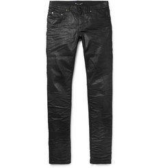 Saint Laurent Slim-Fit 15cm Hem Crinkled Stretch-Denim Jeans