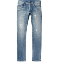 Saint Laurent Slim-Fit 17cm Hem Distressed Washed-Denim Jeans