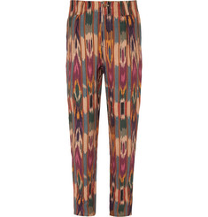 Etro Tapered Pleated Printed Linen Trousers