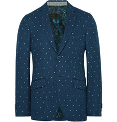 Etro Blue Slim-Fit Cotton-Jacquard Blazer