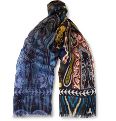 Etro Printed Cashmere and Silk-Blend Scarf