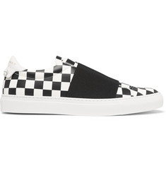 Givenchy Elasticated-Strap Checkerboard Leather Sneakers