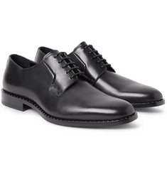 Saint Laurent Dylan Studded Polished-Leather Derby Shoes