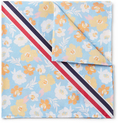 Thom Browne - Striped Floral-Print Cotton Pocket Square