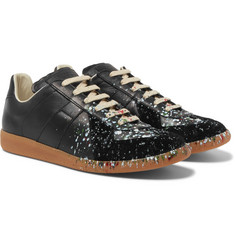Maison Margiela - Replica Paint-Splattered Suede and Leather Sneakers
