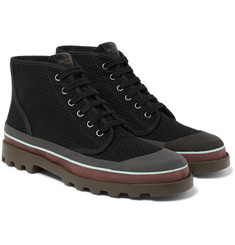 Valentino - Rubber-Trimmed Eyelet-Detailed Canvas Boots