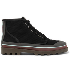Valentino Rubber-Trimmed Eyelet-Detailed Canvas Boots
