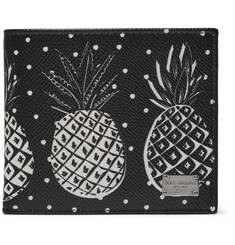 Dolce & Gabbana - Pineapple-Print Pebble-Grain Leather Billfold Wallet