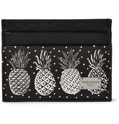 Dolce & Gabbana Pineapple-Print Pebble-Grain Leather Cardholder