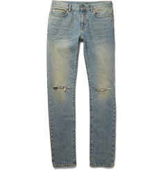 Saint Laurent Skinny-Fit 15cm Hem Distressed Stretch-Denim Jeans