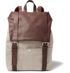 Brunello Cucinelli - Canvas and Grained-Leather Backpack