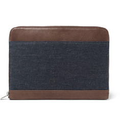 Brunello Cucinelli Panelled Denim and Leather Portfolio