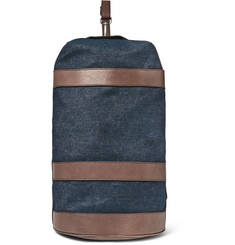 Brunello Cucinelli Leather-Trimmed Denim Duffle Bag
