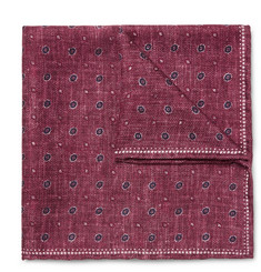 Brunello Cucinelli Double-Faced Printed Silk Pocket Square