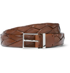 Brunello Cucinelli 2.5cm Brown Braided Leather Belt