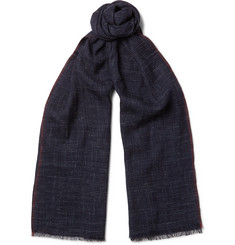 Brunello Cucinelli Checked Silk And Linen-Blend Scarf