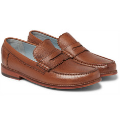 Grenson - Ashley Pebble-Grain Leather Penny Loafers