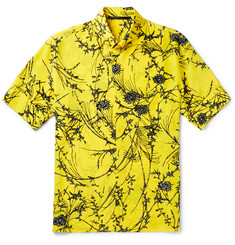 Haider Ackermann Button-Down Collar Floral-Print Silk Shirt
