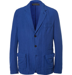 Haider Ackermann Blue Unstructured Stretch Cotton and Linen-Blend Blazer
