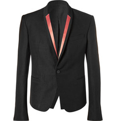 Haider Ackermann Black Slim-Fit Contrast-Trimmed Linen-Blend Blazer