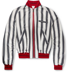 Haider Ackermann Opium Distressed Striped Silk Bomber Jacket